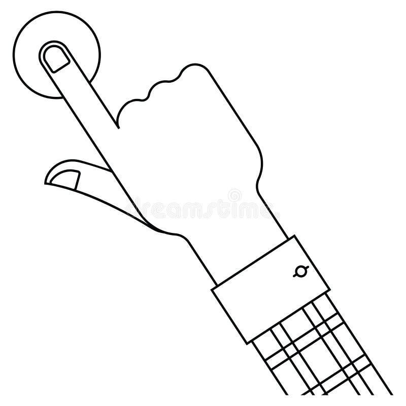 Hand och knapp royaltyfri illustrationer