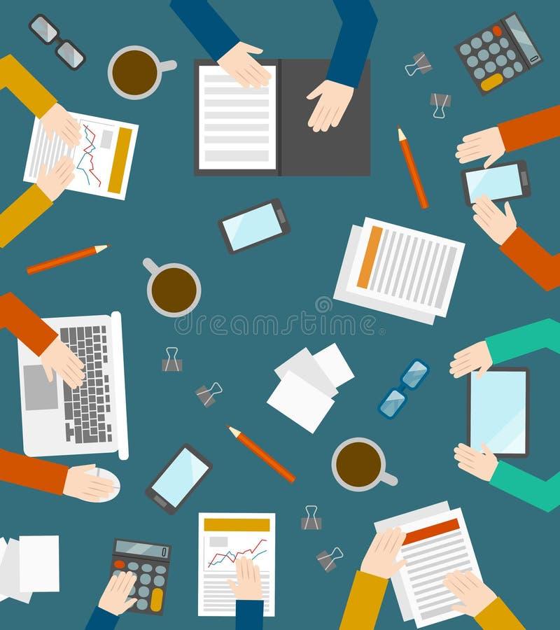 Hand- och kontorssymboler på i bästa sikt stock illustrationer