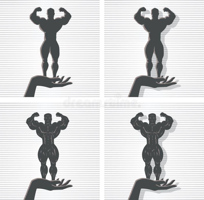 Hand och kroppsbyggare stock illustrationer