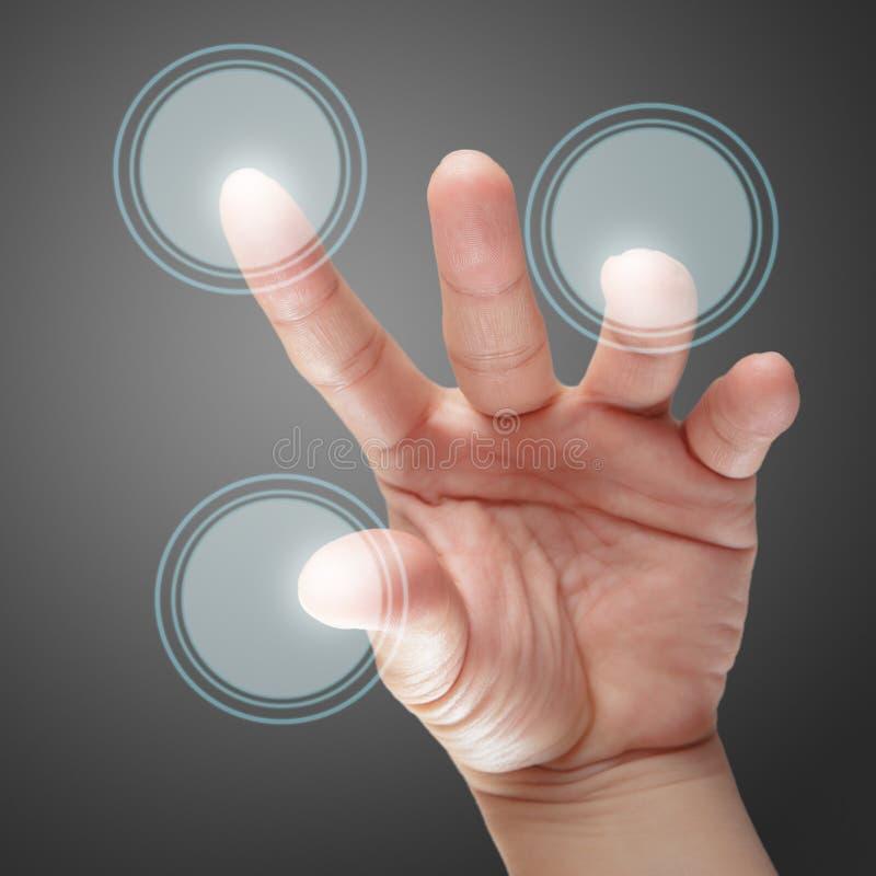 Hand- och pekskärmteknologi royaltyfria bilder