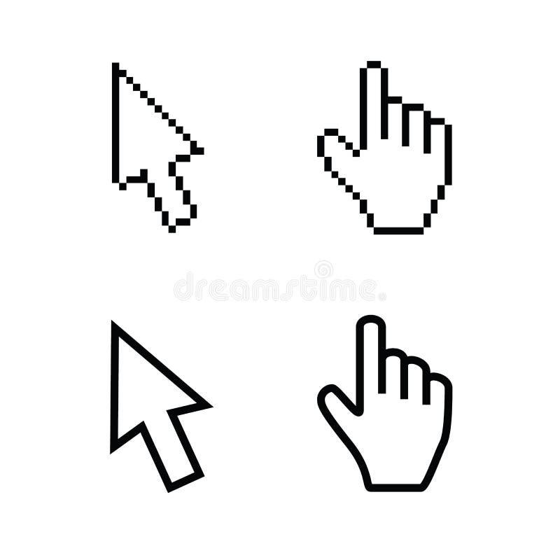 Hand- och pilmarkörer, slätar och PIXELvektorer royaltyfri illustrationer