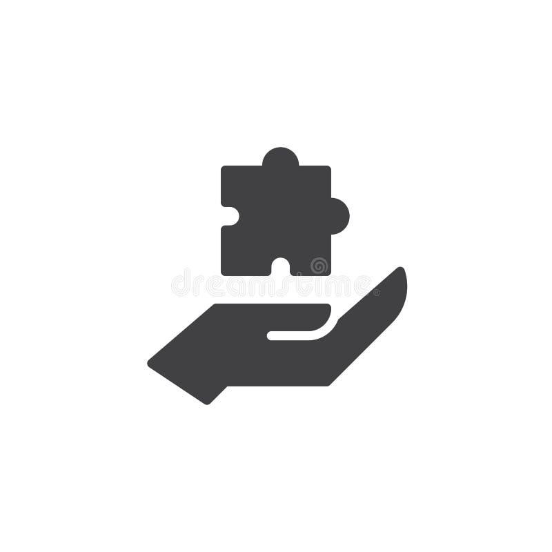 Hand- och pusselvektorsymbol vektor illustrationer