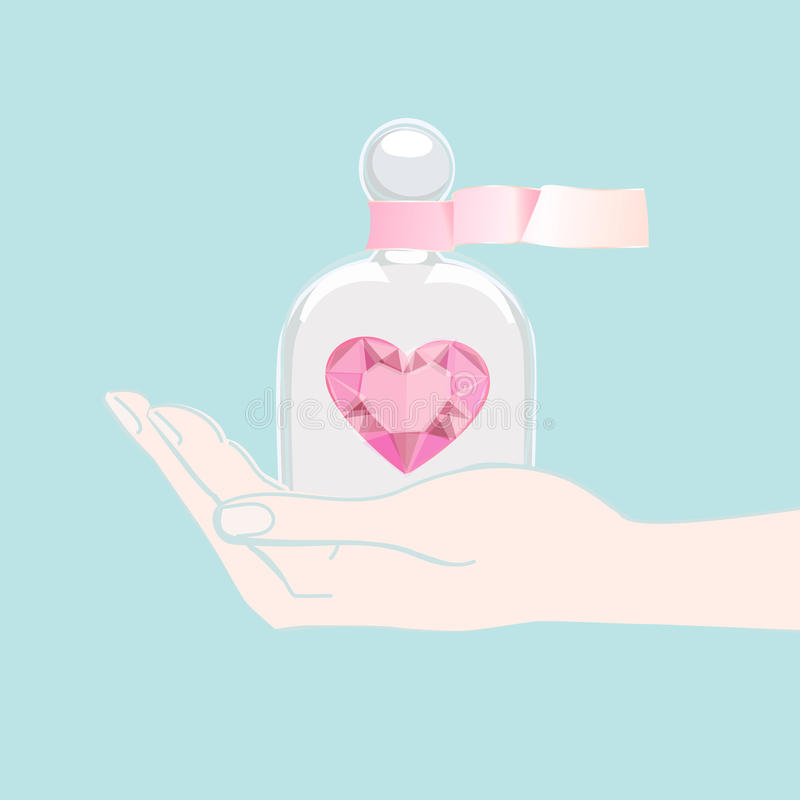 Hand offering a heart under a glass cover royalty free illustration