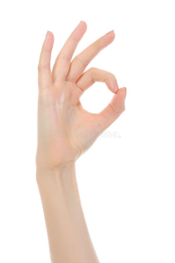 Hand OK sign royalty free stock photos