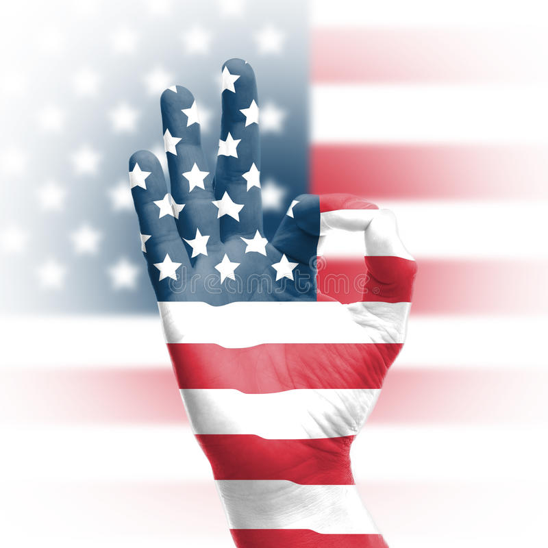 Download Hand OK sign with USA flag stock photo. Image of good - 28720636