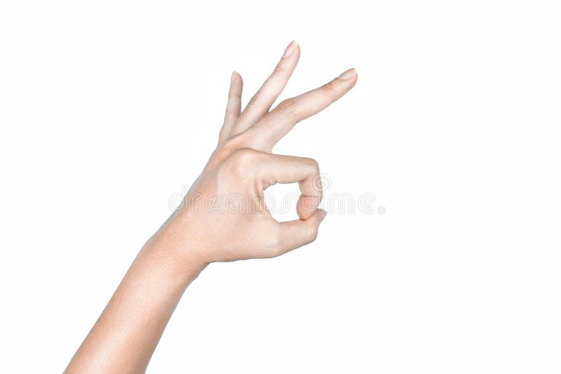 Hand OK signs on isolated white background. Symbol for emotion good and deal stock photos