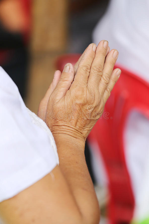 Hand of old people of asian pay respect to the Buddha and Thai m. Onk,concept of faith and good deeds stock photography