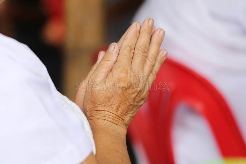 Hand of old people of asian pay respect to the Buddha and Thai m. Onk,concept of faith and good deeds royalty free stock photography