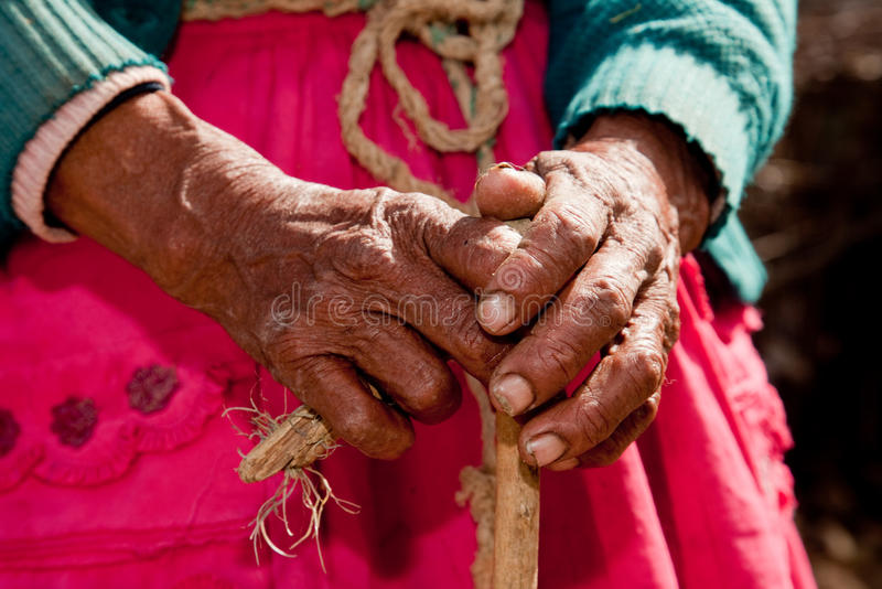 Hand of old woman. In south america, Peru royalty free stock images