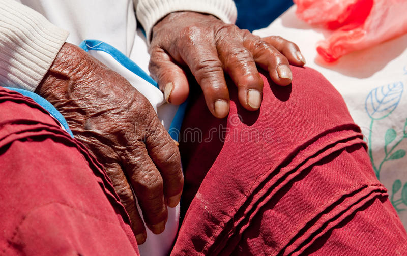 Hand, old Woman, Peru. Hand of old woman in south america, Peru stock images