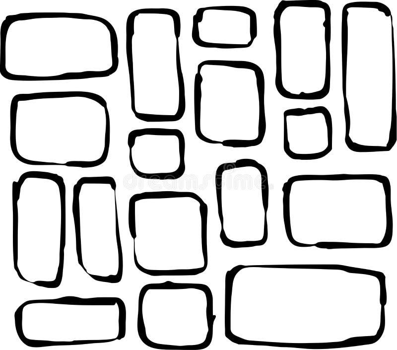 Hand om hoekrechthoek en vierkante vormen over wit wordt getrokken dat stock illustratie