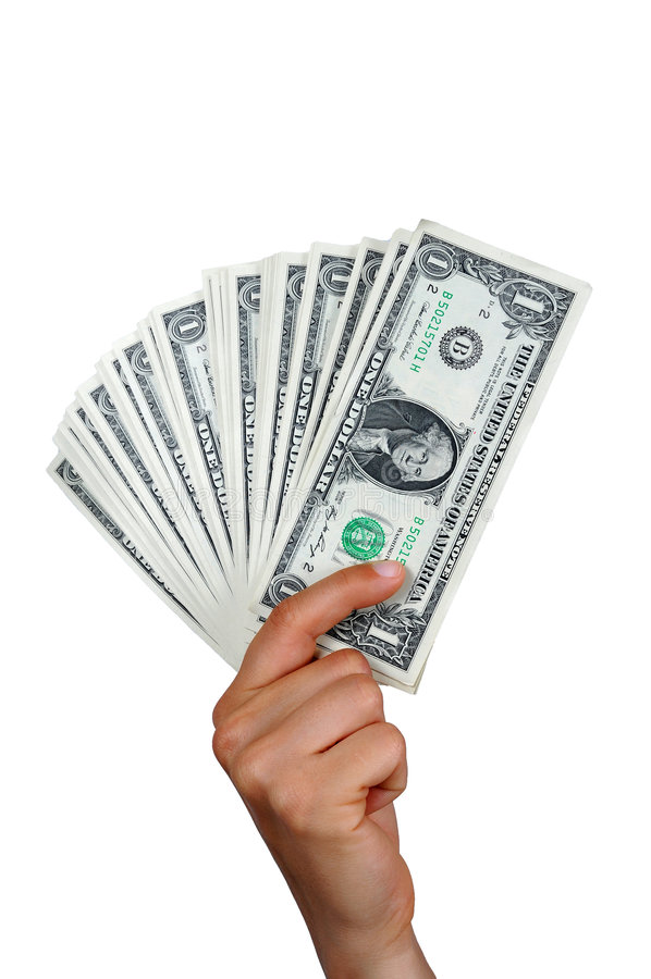 Hand with one dollar bills. Hand of a woman showing a lot of one dollar bills royalty free stock photography