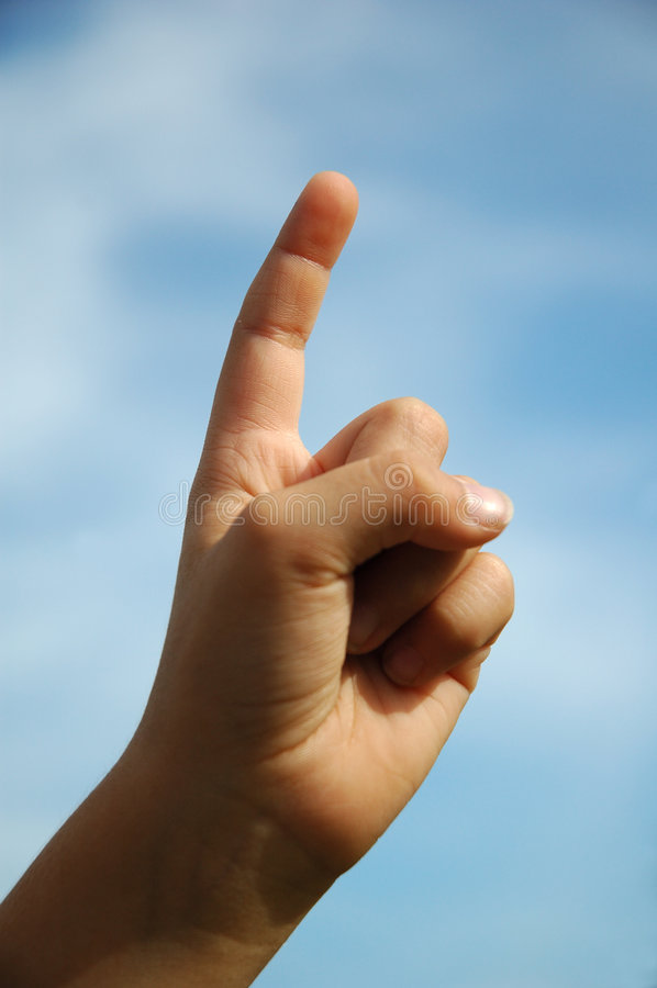 Hand one finger stock image