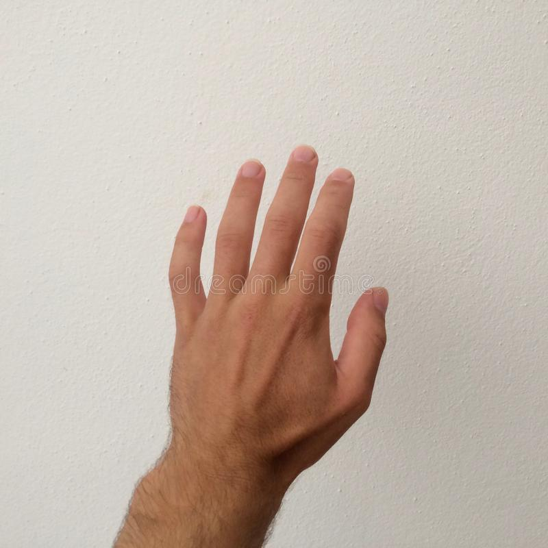 Hand op een witte achtergrond, een deel van het lichaam, een deel van de hand, witte huid, vijf vingers, toont het aantal, in het royalty-vrije stock foto's