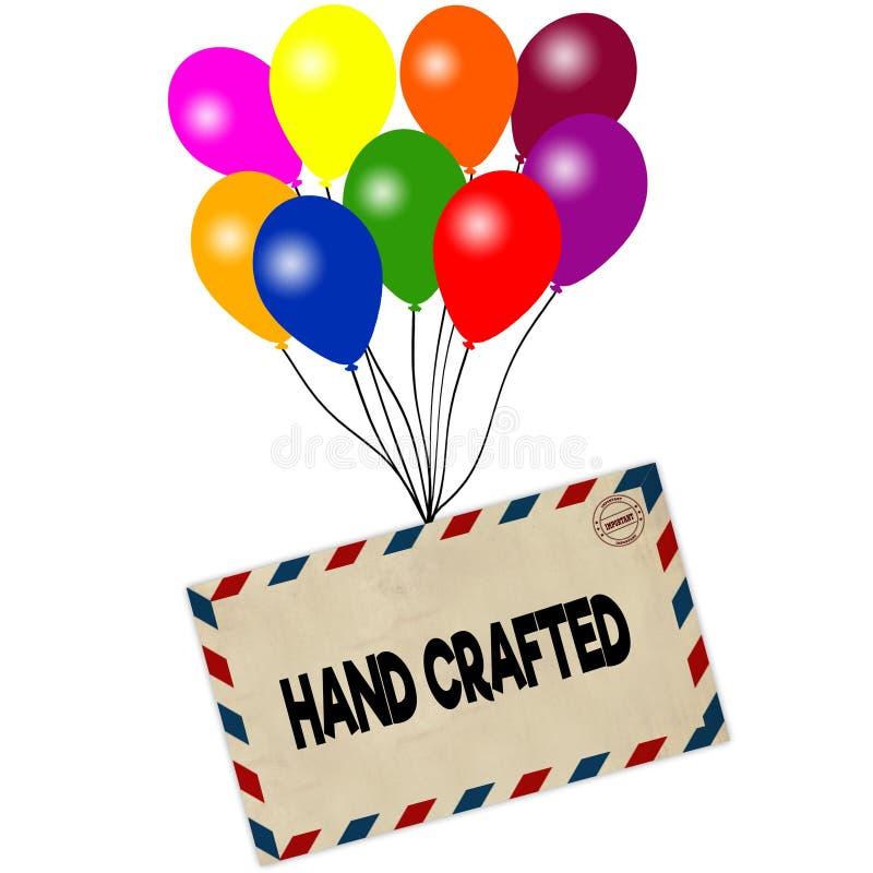 HAND op envelop wordt BEWERKT door gekleurde die ballons wordt op witte achtergrond worden geïsoleerd getrokken die vector illustratie