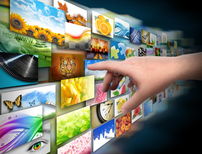 Hand op het Album van de Foto van de Technologie van Media royalty-vrije illustratie