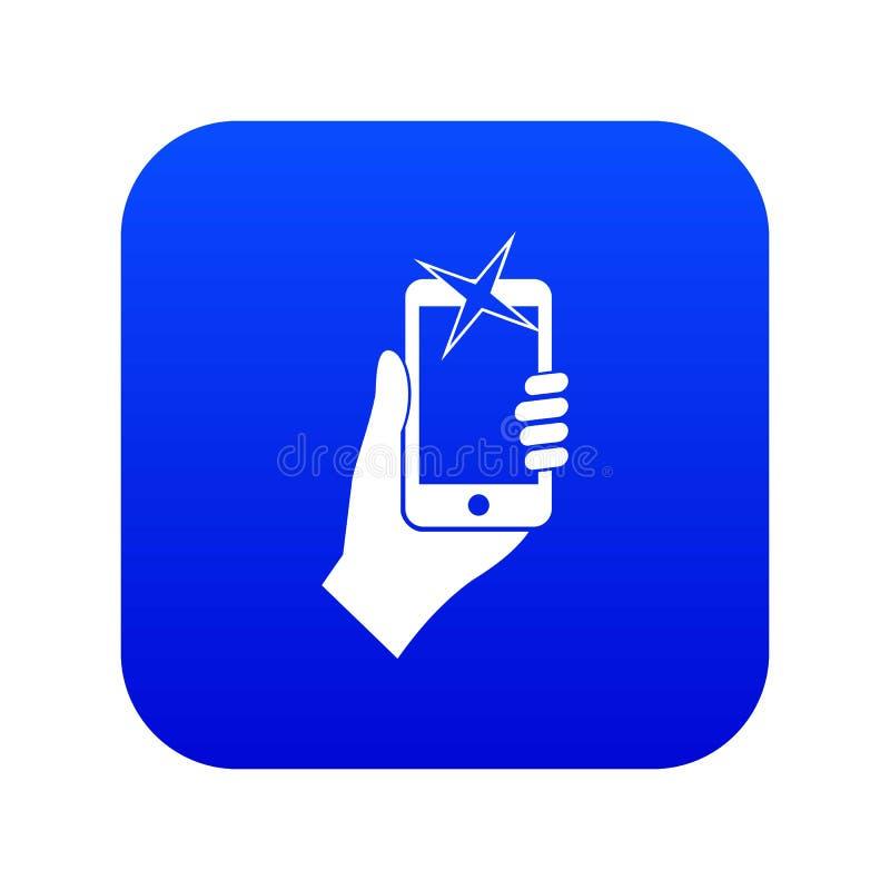 Hand op mobiel telefoonpictogram digitaal blauw wordt gefotografeerd dat vector illustratie