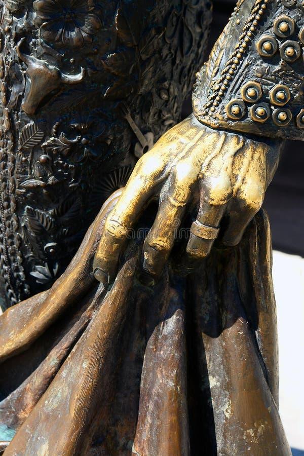 Hand op stierenvechterstandbeeld royalty-vrije stock afbeeldingen