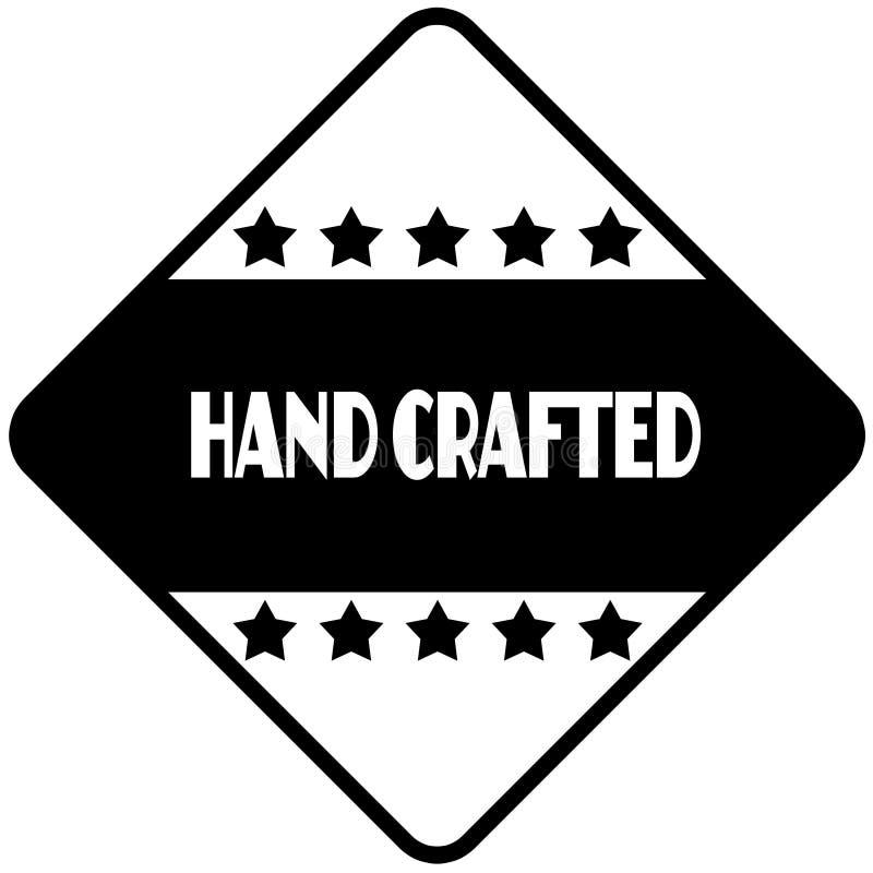 HAND op zwart diamantvormig stickeretiket dat wordt BEWERKT royalty-vrije illustratie