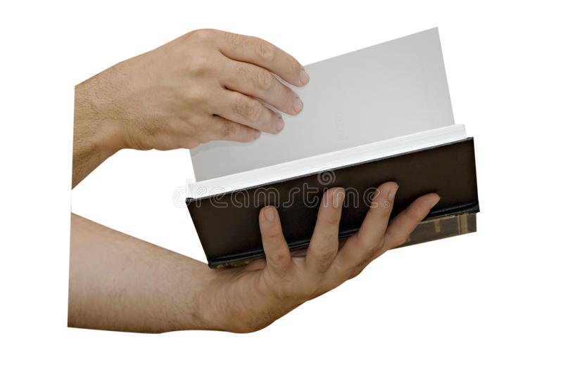 Hand with open book stock photography