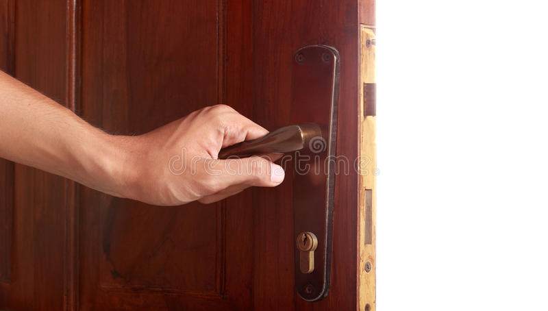 Hand open door royalty free stock photo