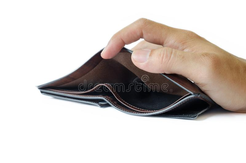 Open the empty wallet. royalty free stock photos
