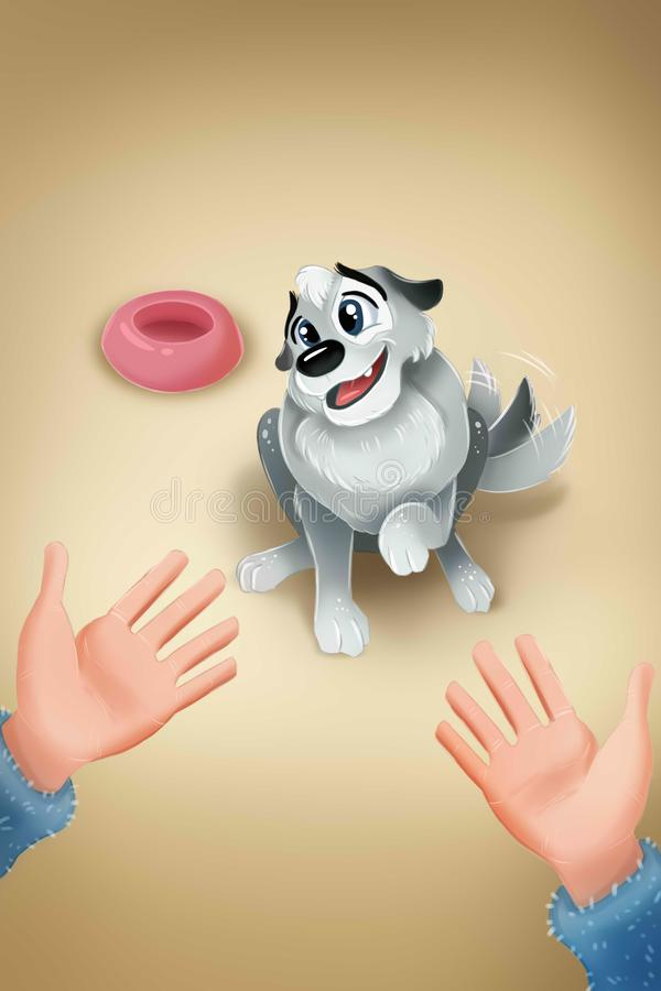 Hand in an open gesture meeting a cute puppy dog. Hand in an open gesture meeting a cute  dog vector illustration