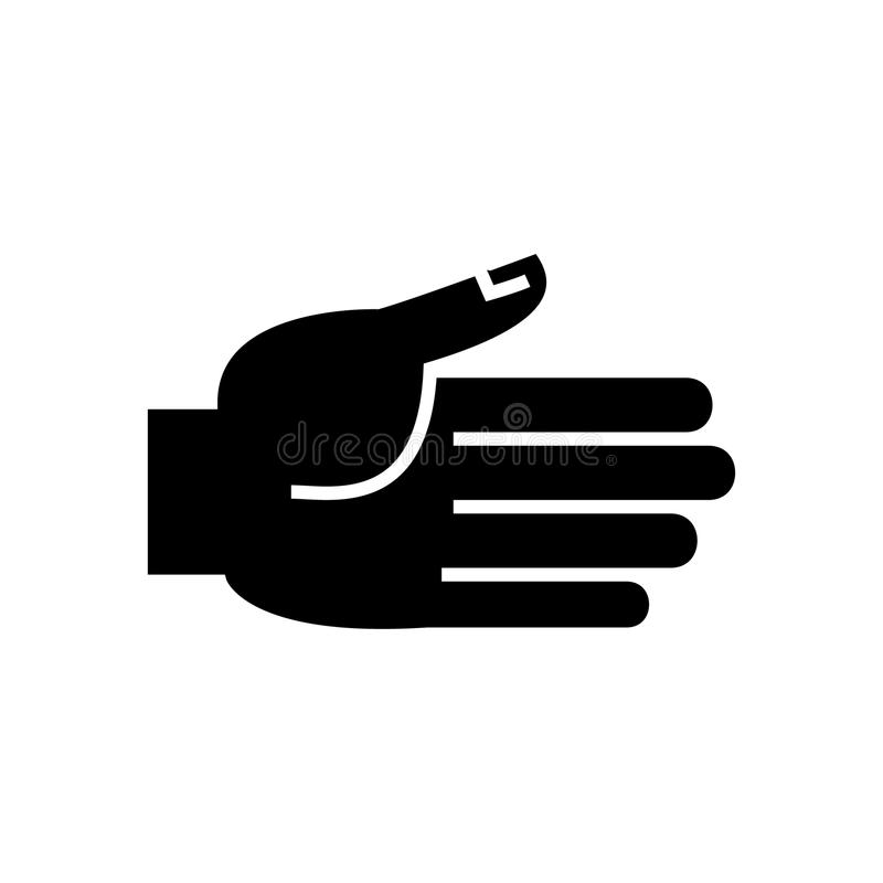 Hand open icon, vector illustration, black sign on isolated background vector illustration