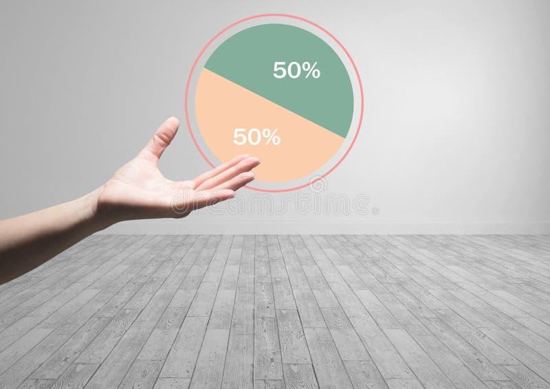 Hand open met kleurrijke halve grafiekstatistieken 50 percenten royalty-vrije stock afbeeldingen
