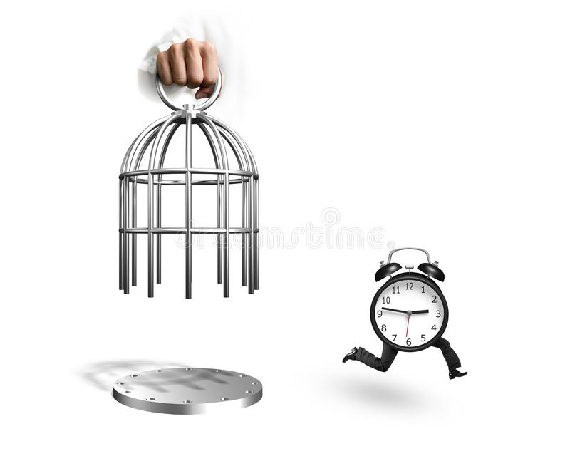 Hand opening cage and alarm clock with human legs running. Hand opening the cage and alarm clock with human legs running, isolated on white background royalty free illustration