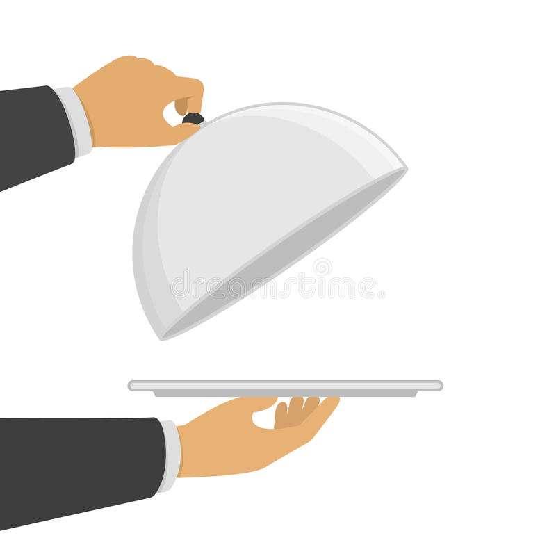 Hand opening silver cloche. stock illustration