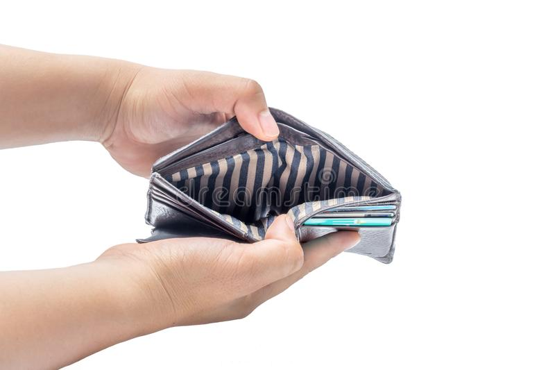 hand opening wallet showing empty. stock photo