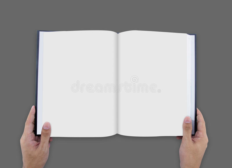 Hand opening white journal with blank pages mockup royalty free stock photo