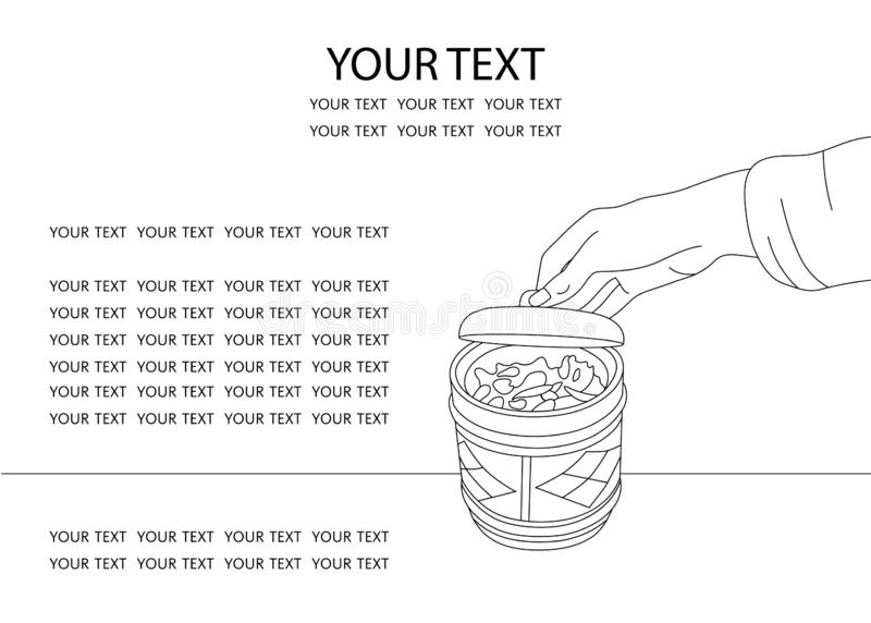 Hand opens ceramic pot with spices. Storage of spices, dried herbs and tea. Ready-made design for your website about. Food and drinks. Linear black and white stock illustration