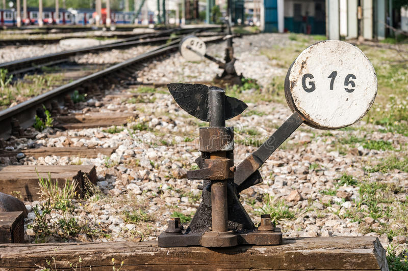 Hand Operated Railroad Switch Near Haydarpasa. Central station in Istanbul royalty free stock image
