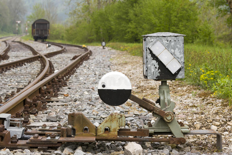 Hand-operated railway switch. With point indicator stock photo