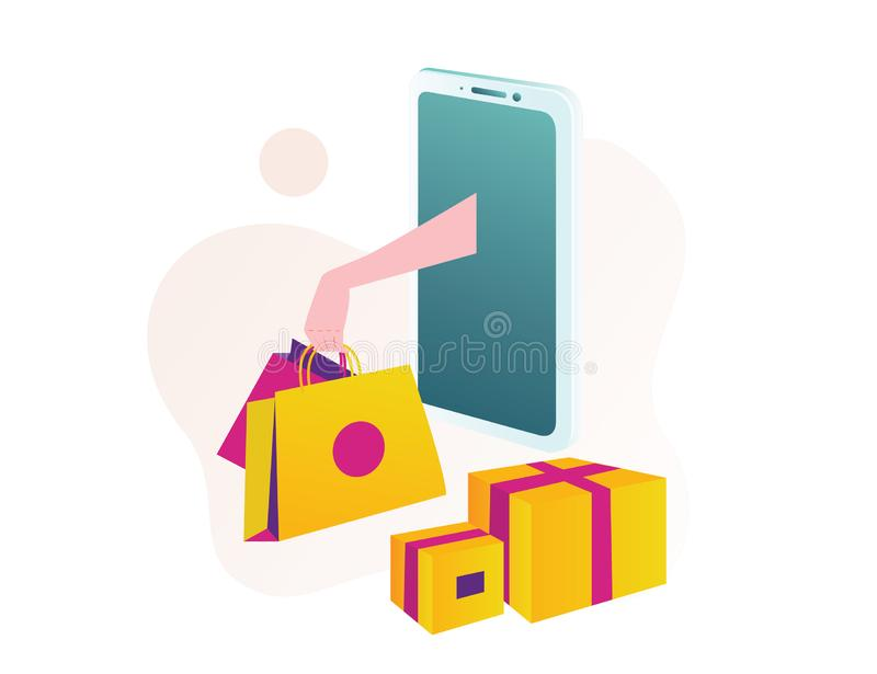 Hand out of the smart phone isometric online shopping. Online shopping isometric hand out the screen smart phone take shop bag and box. Can use for web banner royalty free illustration