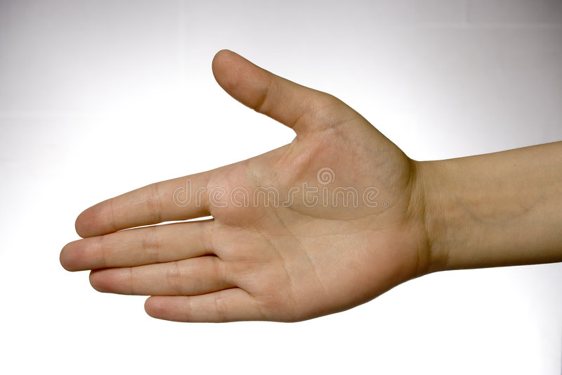 Hand over white. Hand, arm, woman, over, white, background, to offer one's, greeting, welcome, salute, salutation, hello, woman, girl, miss stock image