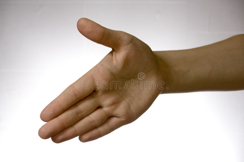 Hand over white. Hand, arm, woman, over, white, background, to offer ones, greeting, welcome, salute, salutation, hello, woman, girl, miss royalty free stock image