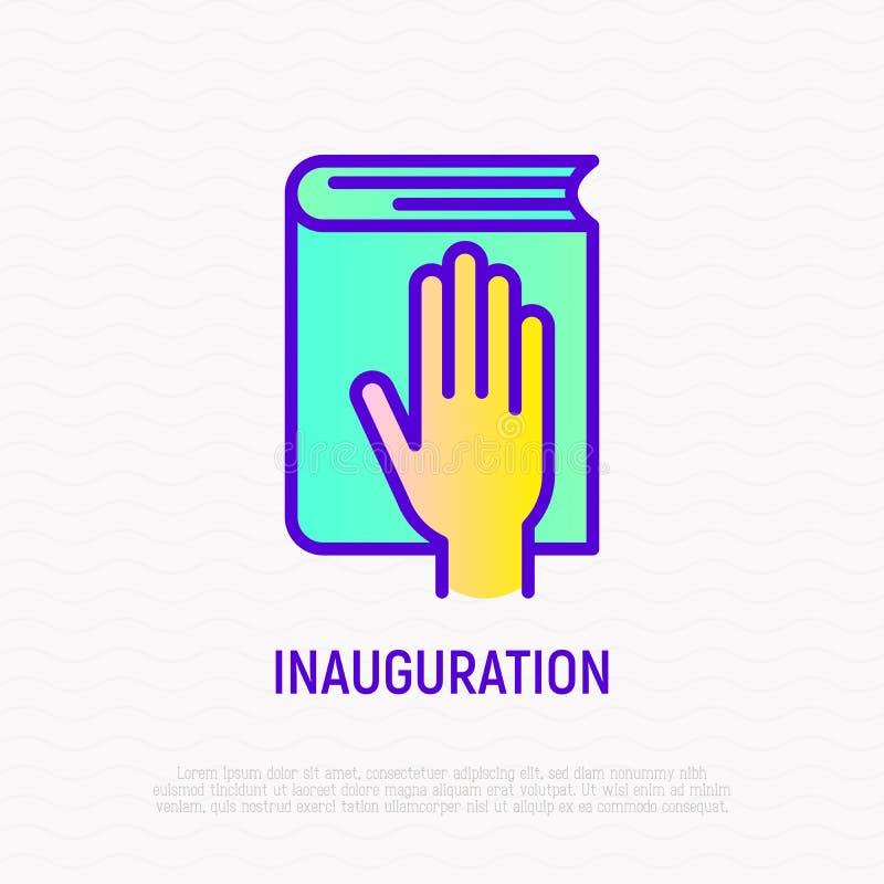 Hand på konstitutionsymbolen, ed på invigning stock illustrationer