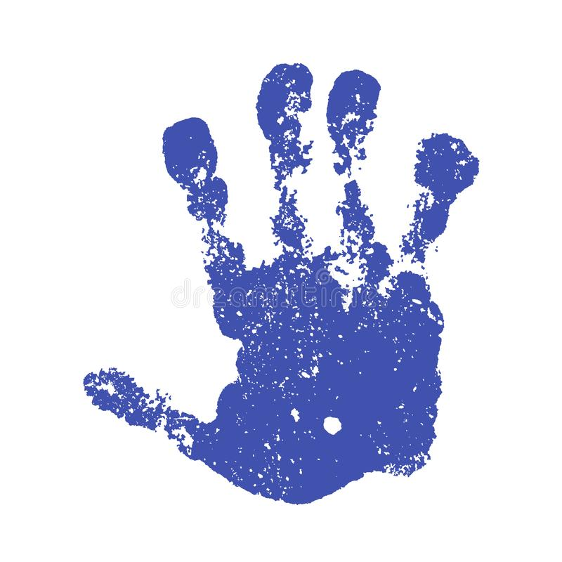 Hand paint print, isolated white background. Blue human palm and fingers. Abstract art design, symbol identity people stock illustration
