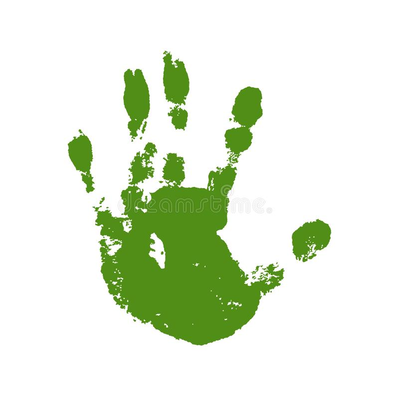 Hand paint print, isolated white background. Green human palm and fingers. Abstract art design, symbol identity people royalty free illustration