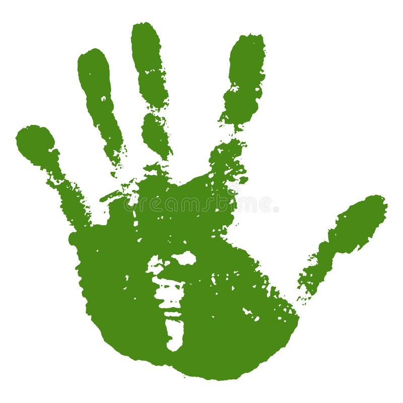 Hand paint print, isolated white background. Green human palm and fingers. Abstract art design, symbol identity people stock illustration