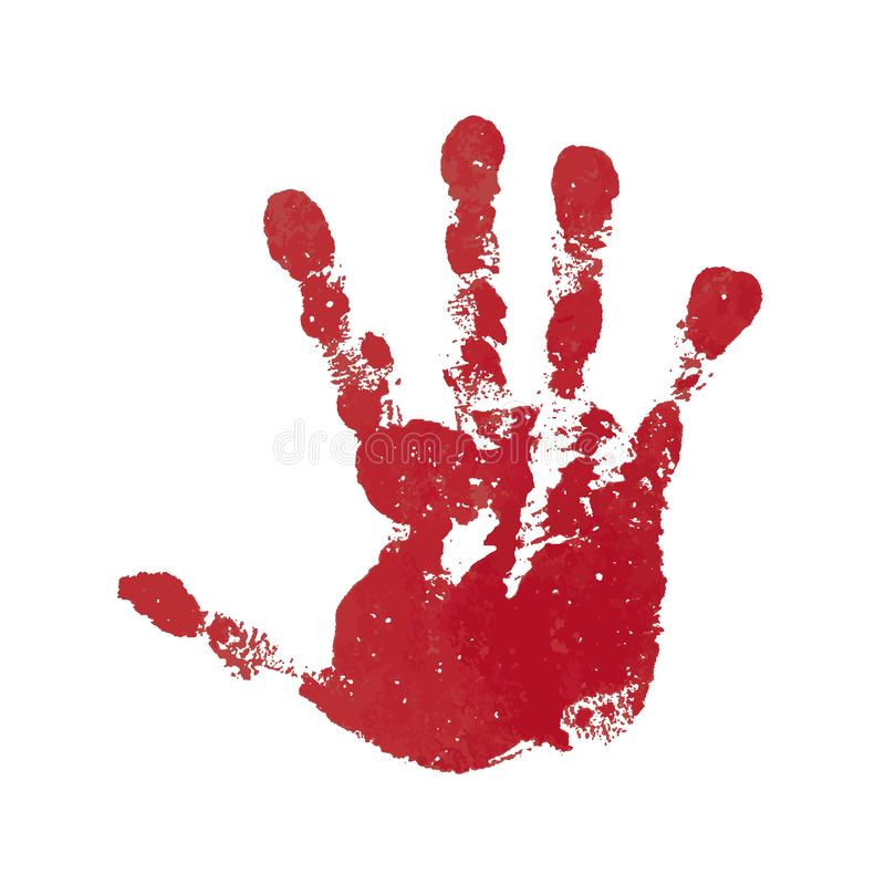 Hand paint print, isolated white background. Red human palm and fingers. Abstract art design, symbol identity people vector illustration