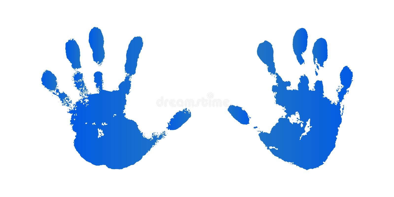 Hand paint print set, isolated white background. Blue human palm and fingers. Abstract art design, symbol identity stock illustration