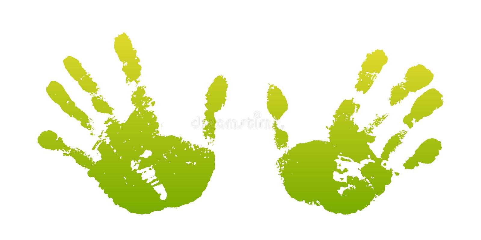 Hand paint print set, isolated white background. Green human palm and fingers. Abstract art design, symbol identity stock illustration