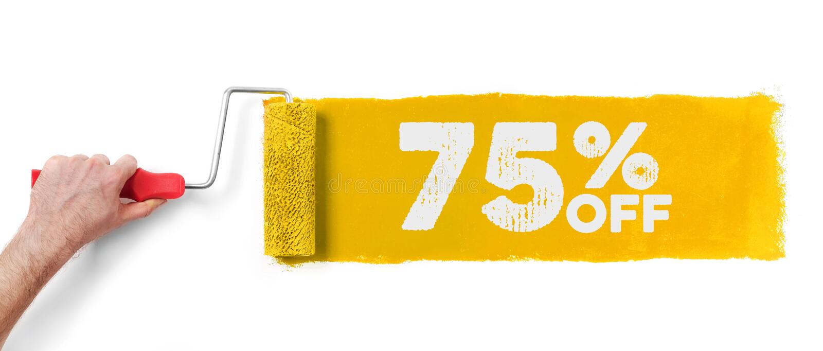 Hand with paint roller showing 75% off stock images