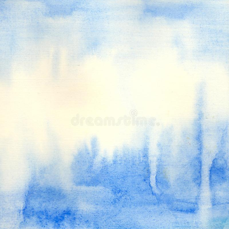 Hand painted  аbstract blue watercolor background. Hand painted watercolor sky and clouds, abstract watercolor background.Abstract blue watercolor background royalty free illustration