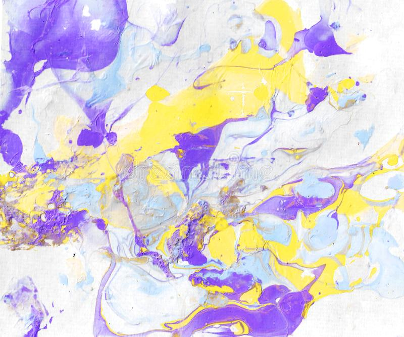 Hand-painted abstract background with yellow, purple and blue paint splashes stock illustration