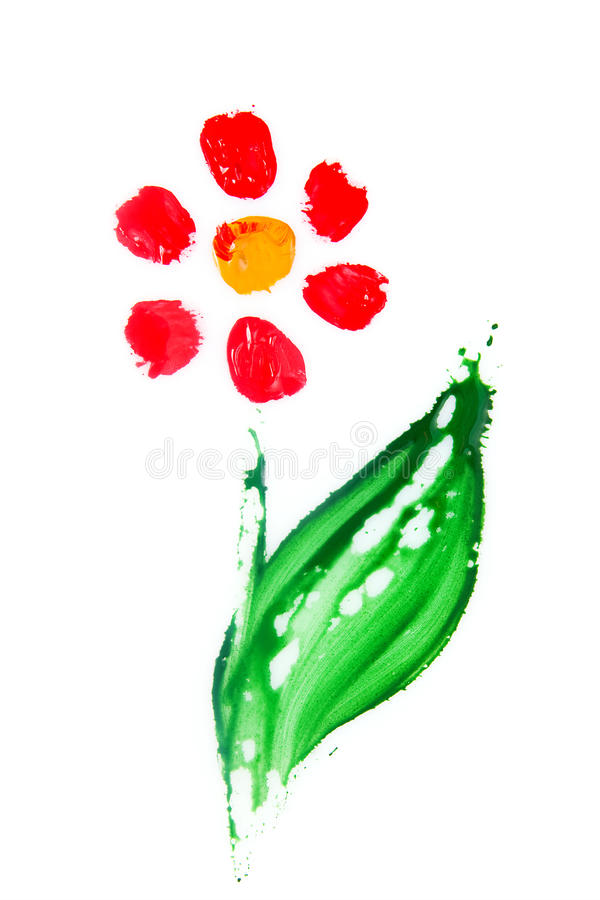 Hand-painted abstract flower. Floral summer with hand-painted abstract flower in different colors on white background royalty free stock photo